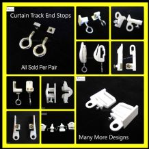 Curtain Track End Stops - Rail end stoppers hooks eye stays - SOLD PER PAIR